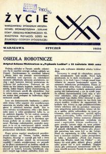 """Artykuł Adama Mickiewicza """"Osiedla Robotnicze"""" zamieszczony w """"Trybunie Ludu"""" z 25 kwietnia 1849 r. Przedruk w """"Życiu WSM"""" ze stycznia 1936 r."""